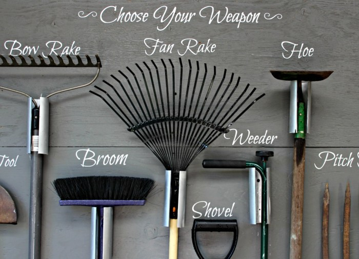 Create this garden tool storage wall using plywood. PVC and your Cricut cutting machine for personalized lettering.Choose your weapon and get to work in the garden. This project was completed in a weekend.