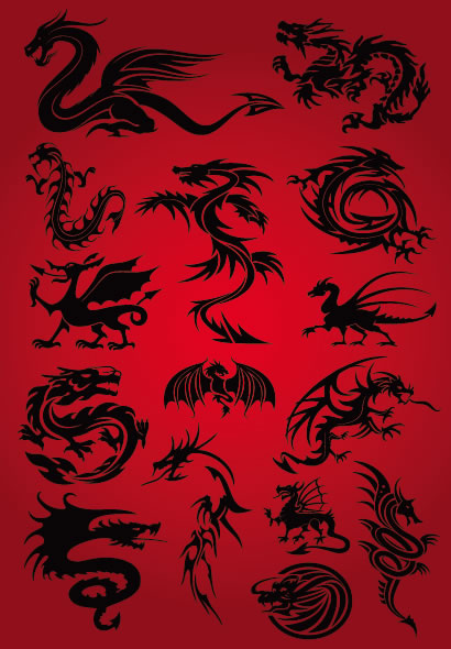 ドラゴンのシルエット素材(ベクタークラブ)