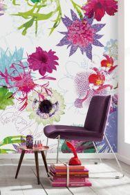 Papel de parede floral colorido