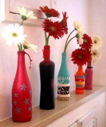 Garrafas de vidro pintadas