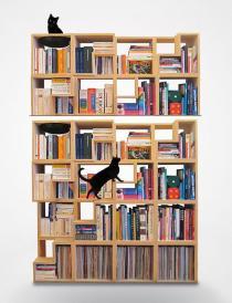 Estante modular com espaço para passagem de gatos, Corentin Dombrecht