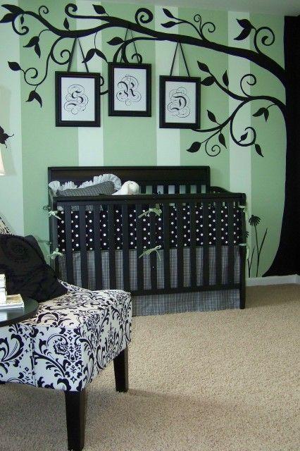 Inspiração em preto e banco para quarto infantil