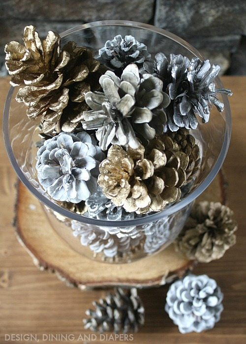 Spray Painted Pine Cone Centerpiece
