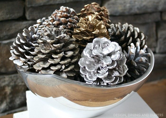Spray Painted Pine Cone Display