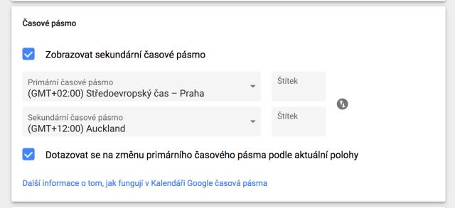 Výběr časových zón v Google Kalendář