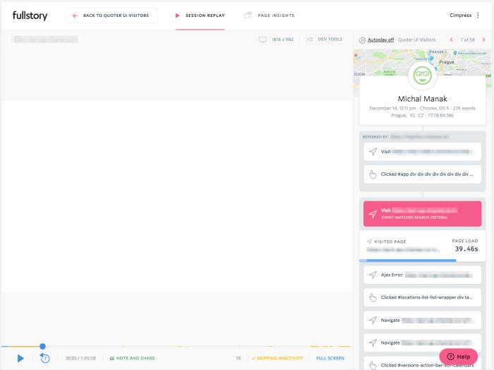 Ve Fullstory můžete sledovat, jak lidé využívají vaše produkty, na co klikají, zda jsou aktivní, atp.