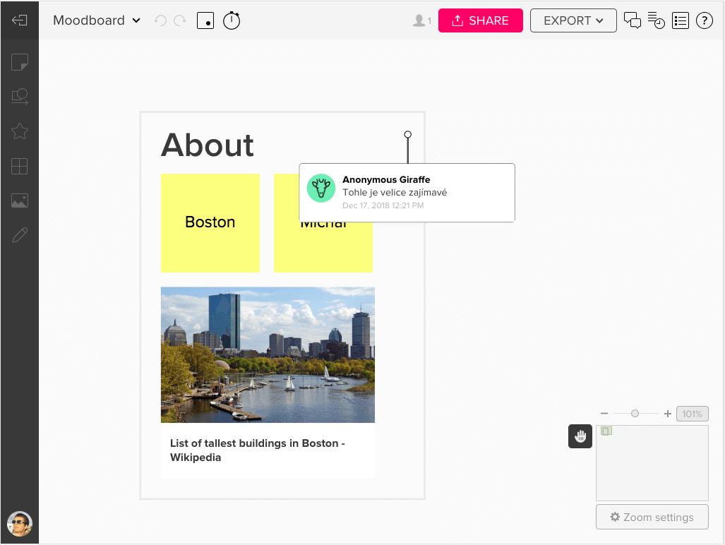 Můžete do projektů vkládat různé objekty a diskutovat nad nimi.