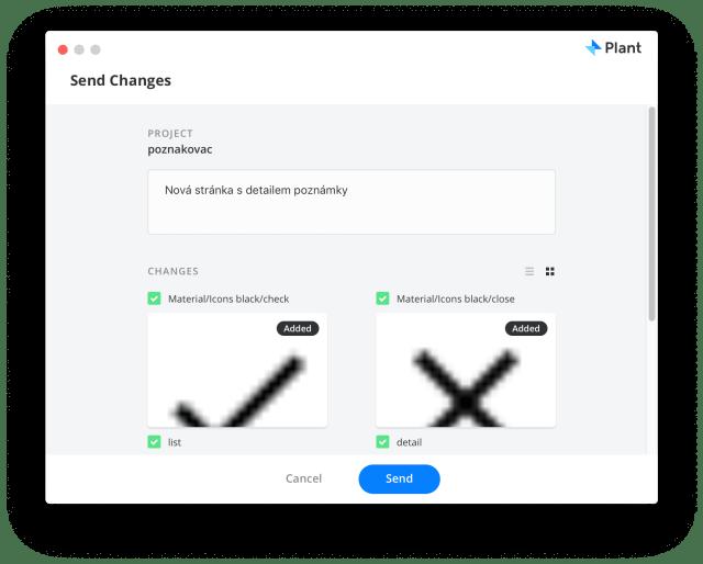 Při nahrávání změn do projektu můžete vidět změny a přidat k nim komentář