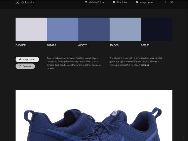 Nástroj umožňuje vyextrahovat barvy z nahraného obrázku.