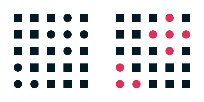 Princip podobnosti (The Law Of Similarity) s využitím tvarů a barev.