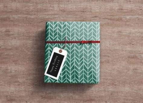 Красивая поздравительная коробка PSD Mockup