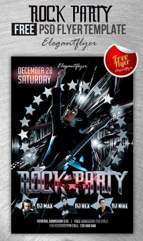 Rock Party – Club and Party Free Flyer PSD Template