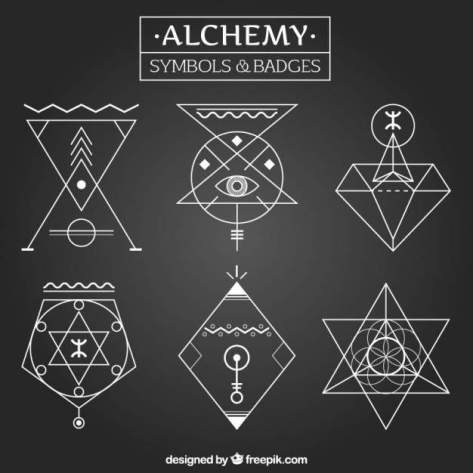 Alchemy symbols and badges in linear style Free Vector