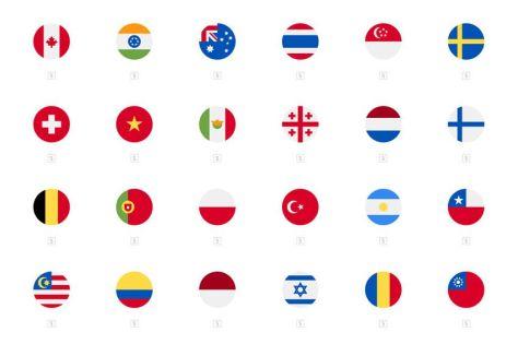 260 скругленных квадратов прямоугольные значки флага страны бесплатный набор иконок баннер страны нации psd eps png svg