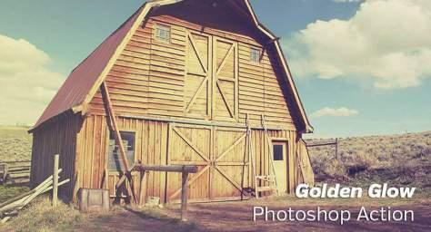 Золотое сияние Золотые часы эффекты бесплатные действия фотошоп