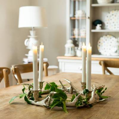 Silver Nickel Circular Antler Candelabra With Four Candle Holders