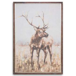 Large Stag On Cement Board With Frame