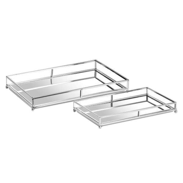 Set Of Two Rectangular Silver Bar Trays