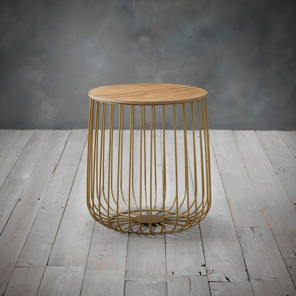ENZO SMALL CAGE TABLE GOLD FRAME OAK TOP
