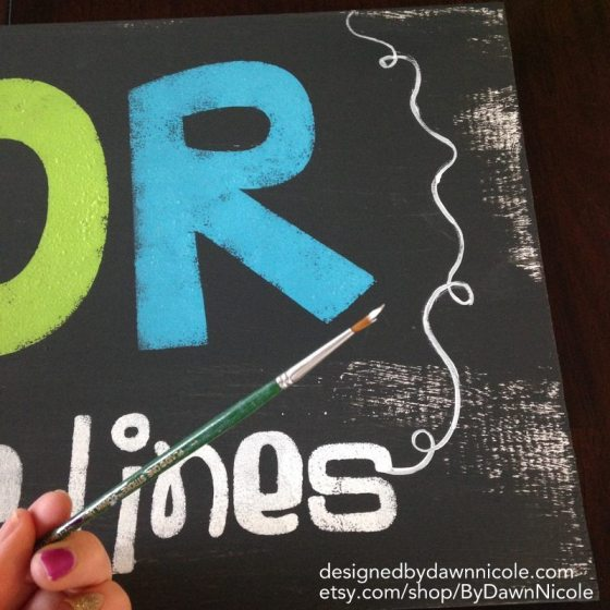 COLOR Outside the Lines Sign with Button Wire Hanger