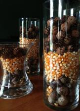 Vase Filler, Easy Tablescape, Simple Centerpieces, Thanksgiving, Hosting, Acorns, Corn Kernals, Pinecones