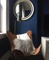 Instagram, Recap, Roundup, Monthly Roundup, Monthly Recap, Living Room, Interior Design, Interior Design Jersey City, interior Design New Jersey, New Jersey Interiors, Jersey City Interiors, Decor, Design, Interior Decorator, Details, Contemporary, Texture, Transitional, Layers, Butterfly Chair, Hardoy Chair, Leather Chair, Sheepskin Pillow, Sheepskin, Navy Walls,