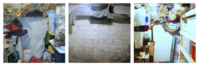 Storage room coal shoot wall