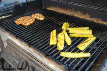 Grilling pineapple and chicken