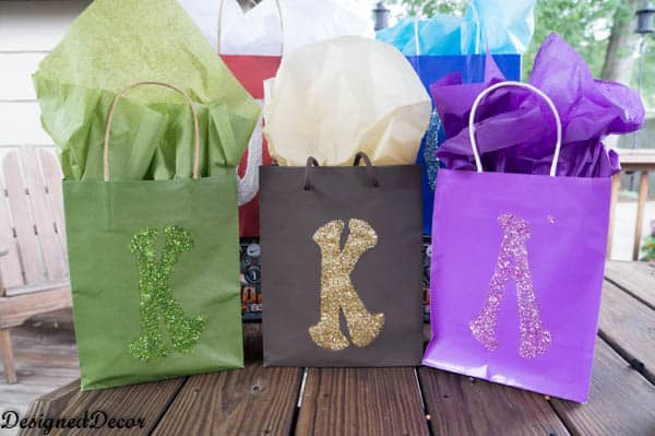 Personalized Glitter Gift Bags