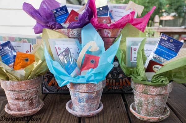 sponge painting flower clay pots
