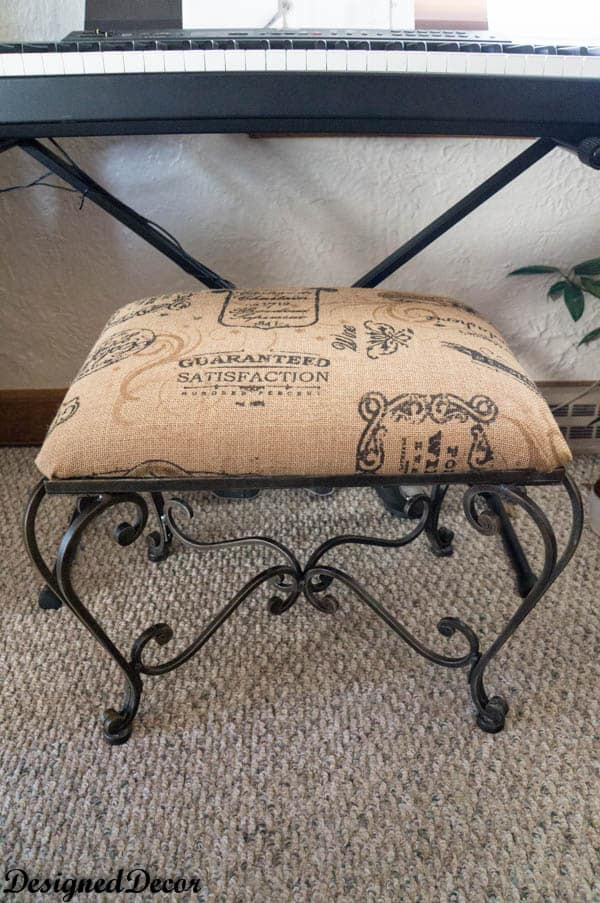 repurposed burlap metal bench