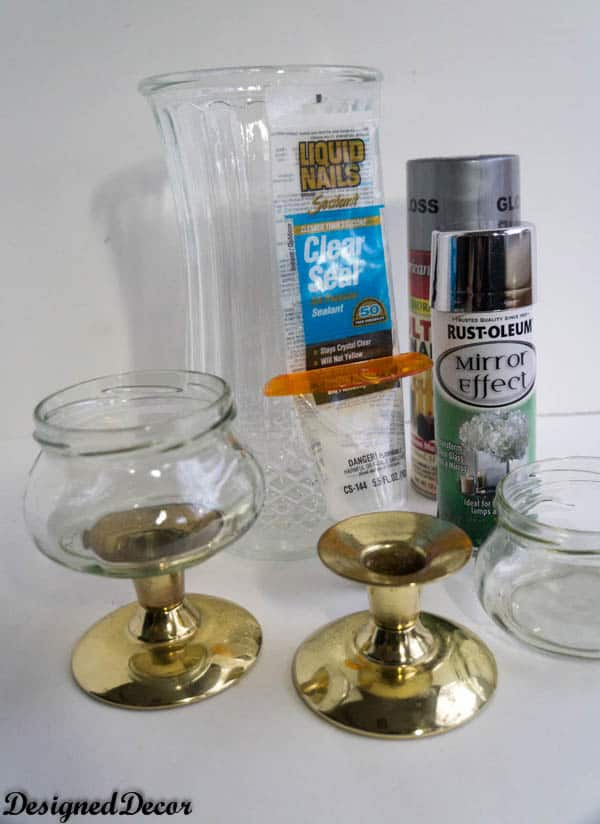 Brand-new Make your own Mercury Glass Candle Holders and a Vase! ~- Designed  JU47