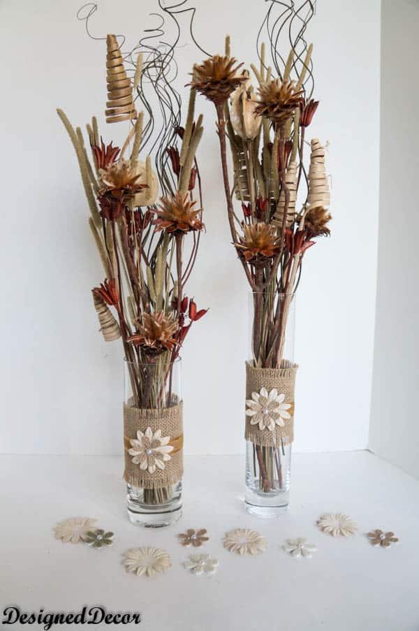 adding filler for a burlap vases-