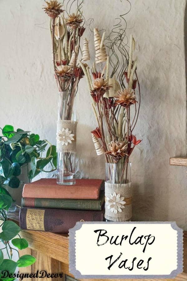 burlap vases- www.designeddecor.com
