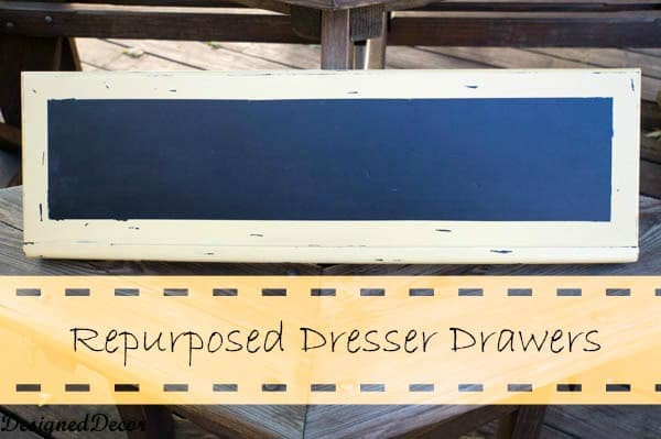 repurposed dresser drawers turned chalk board-