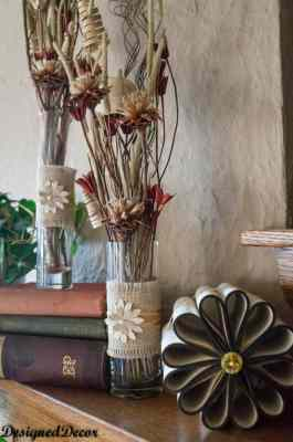 decorating the mantel with a repurposed book flower-11