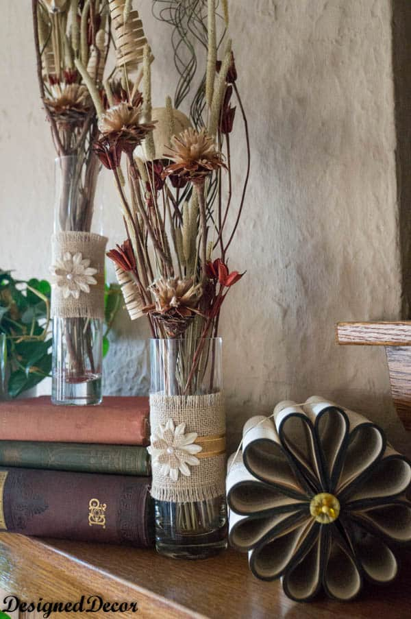 decorating with burlap vases