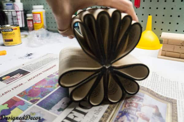 place to parts together for a repurposed book flower-7