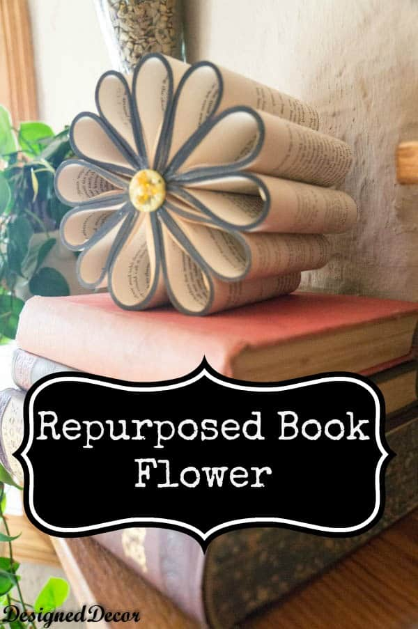 repurposed book flower-www.designeddecor.com
