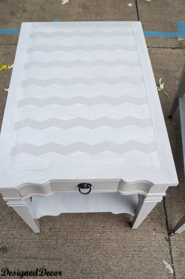 Grey Chevron End Tables- painted furniture