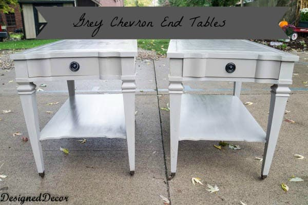 Grey Chevron End Tables