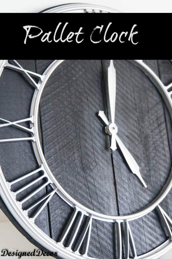 repurposed pallet clock- www.designeddecor.com