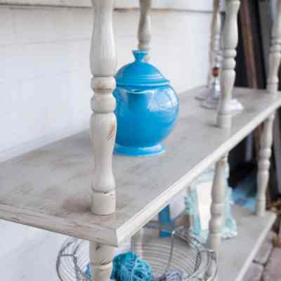 Painting an outdated 3 tier shelf unit to give it a second life!