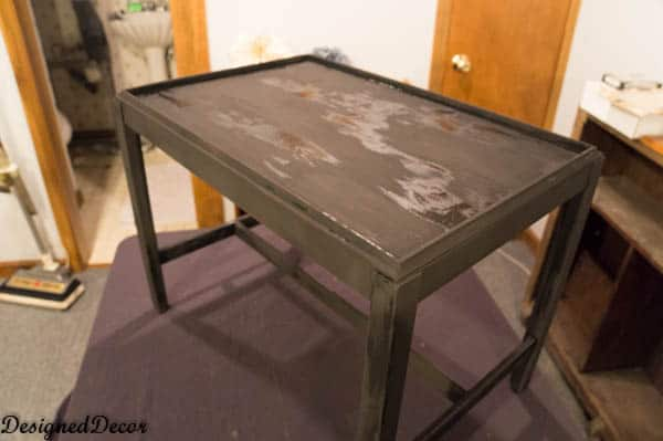 using milk paint on a serving tray table