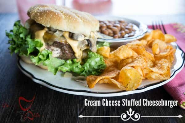 #SayCheeseburger~ Cream Cheese Stuffed Cheeseburger~ #CollectiveBias-#shop
