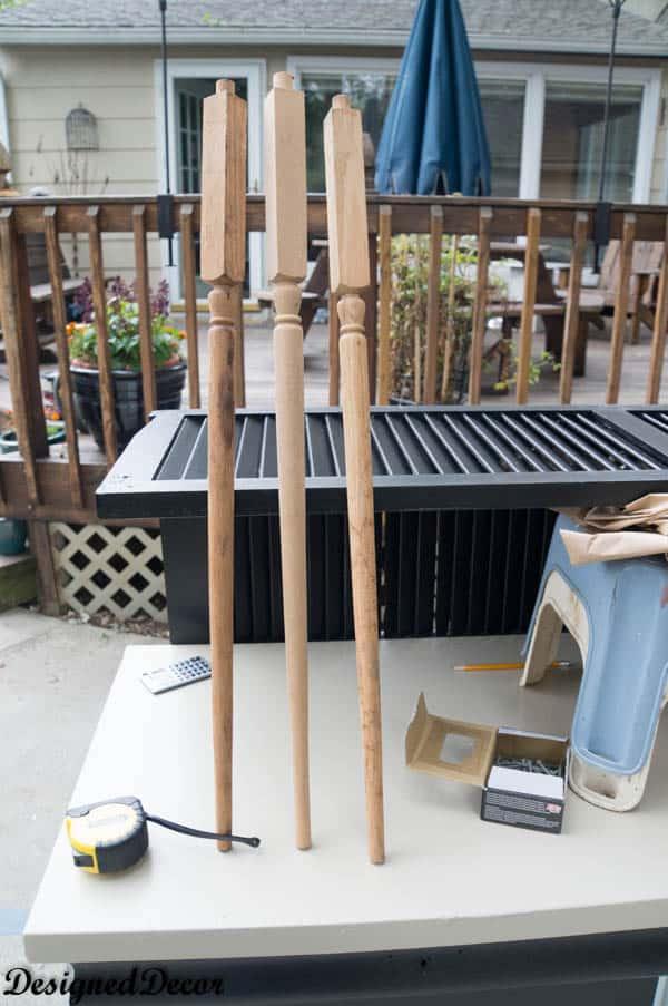 Repurposed Potting Bench- adding wood shutters as a shelf