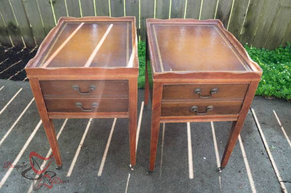 Before~ Accent Tables~ Leather Top ~ Casters