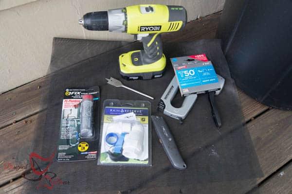 Supplies needed for DIY Rain Barrel ~