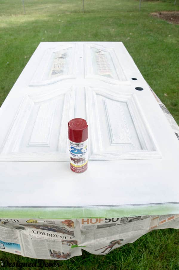 how to spray paint a door-