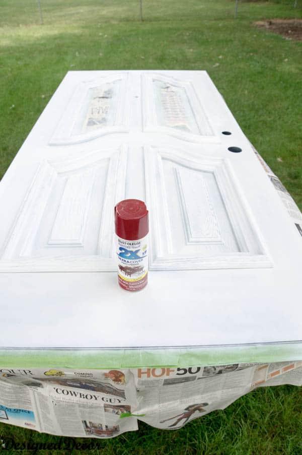 how to spray paint a door-